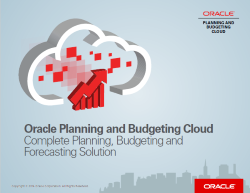 Oracle Planning and Budgeting Cloud
